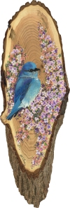Blue Bird on a Lilac branch • Original & prints available at online store