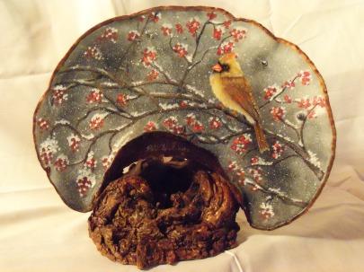 Cardinal on Mushroom