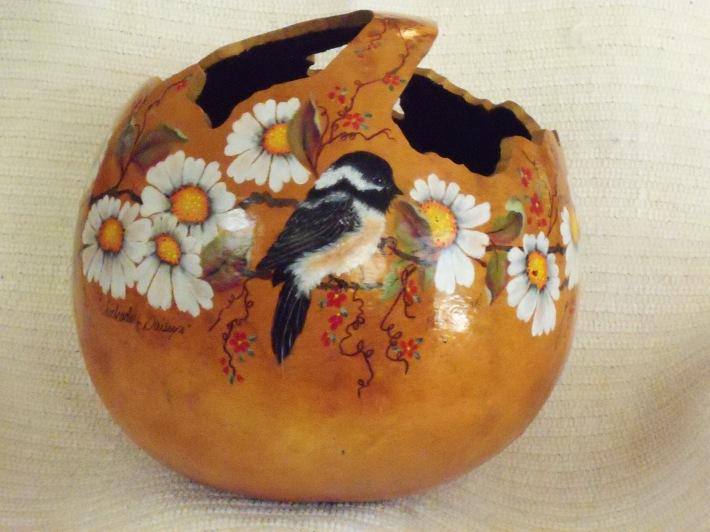 Chickadee Gourd